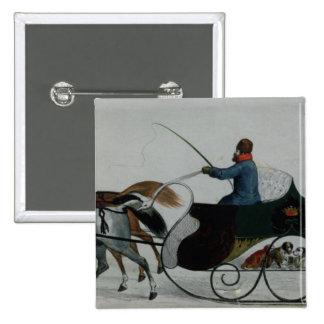 Horse Drawn Sleigh 15 Cm Square Badge