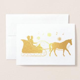 Horse-Drawn Sleigh at Christmas in Silhouette Foil Card