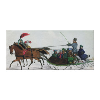 Horse Drawn Sleigh Gallery Wrapped Canvas