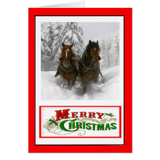 Horse Drawn Sleigh Christmas Card