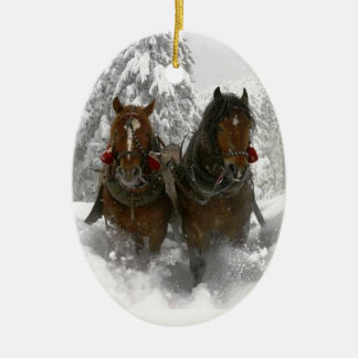horse drawn sleigh christmas ceramic ornament