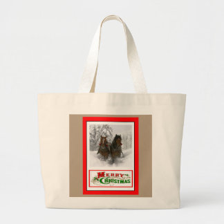 horse drawn sleigh christmas jumbo tote bag