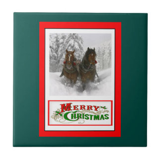 horse drawn sleigh christmas small square tile