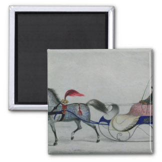 Horse Drawn Sleigh Square Magnet