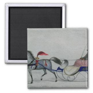 Horse Drawn Sleigh Refrigerator Magnets