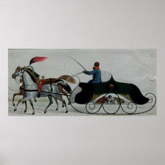 Horse Drawn Sleigh Print