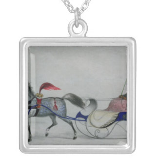 Horse Drawn Sleigh Square Pendant Necklace