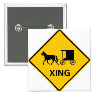 Horse-drawn Vehicle Crossing Highway Sign Button