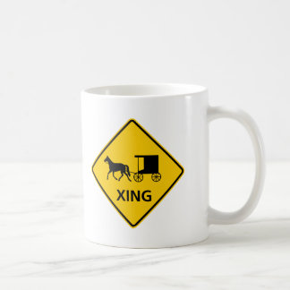 Horse-drawn Vehicle Crossing Highway Sign Mugs