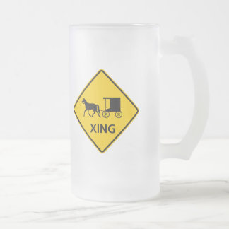 Horse-drawn Vehicle Crossing Highway Sign Coffee Mugs