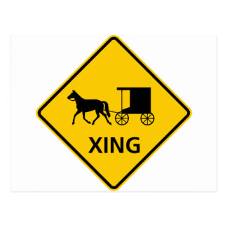 Horse-drawn Vehicle Crossing Highway Sign Postcard