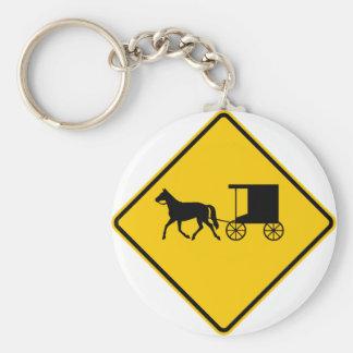 Horse-drawn Vehicle Traffic Highway Sign Basic Round Button Key Ring