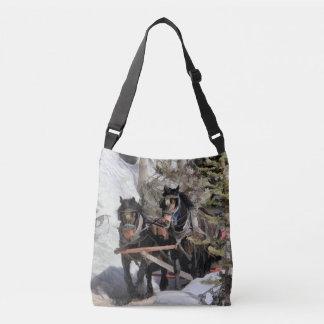 Horse Drawn Wintery Sleigh Ride Tote Bag