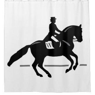 Horse Dressage Custom Initial & Colour Background Shower Curtain