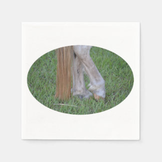 horse equine hind hooves one resting tail disposable serviette