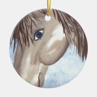 Horse Face Round Ceramic Decoration