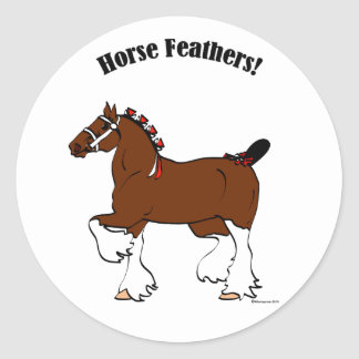 Horse Feathers! Classic Round Sticker