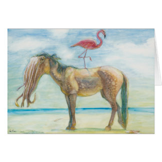 Horse & Flamingo with Tentacles card