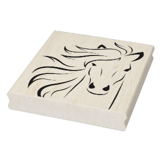 Horse Flowing Mane Etched Rubber Stamp