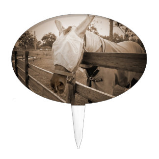 horse fly mask over fence sepia cake topper