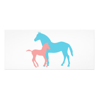 Horse & foal blue pink silhouette custmo bookmark full color rack card