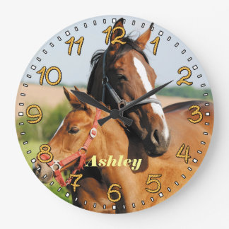 Horse & Foal Personalizable Wall Clock