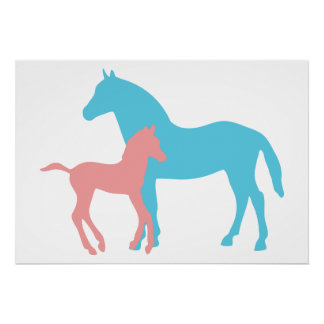Horse & foal pink & blue silhouette poster, print