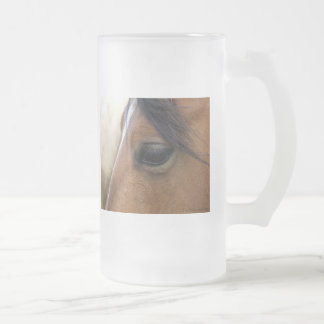Horse Frosted Glass Beer Mug