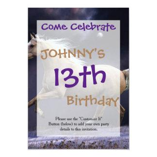 horse galloping 13 cm x 18 cm invitation card