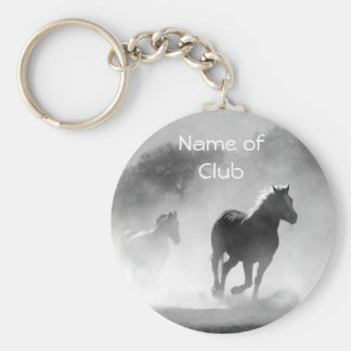 Horse Galloping Out of the Mist Basic Round Button Key Ring