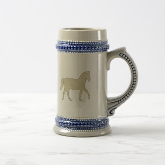 Horse - geometric pattern  - beige and white. beer stein