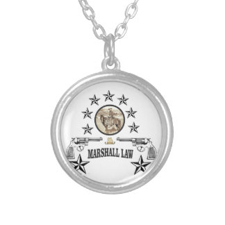 horse guns and marshal law silver plated necklace