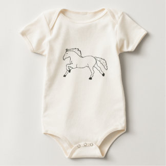 HORSE HAND DRAWN IN BLACK AND WHITE BABY BODYSUIT