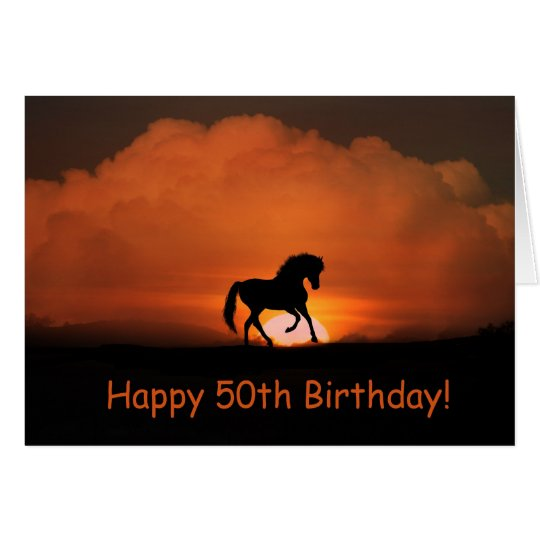 Horse Happy 50th Birthday Running in the Sun Card