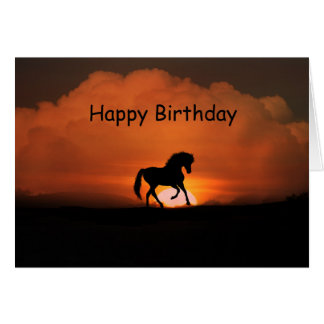 Horse Happy Birthday in the Sunset Card