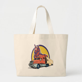 Horse Head and Semi Truck for Truck Drivers Canvas Bag