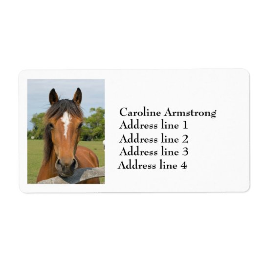 Horse head chesnut personalised address labels