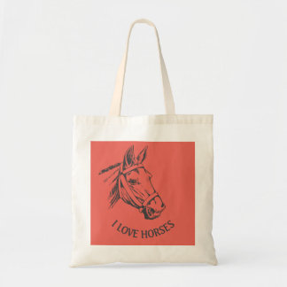 Horse-head drawing with harness tote bag