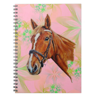 Horse head on floral background, spiral notebooks
