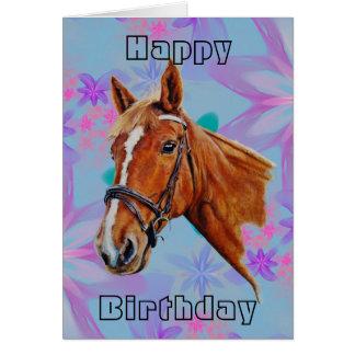 Horse head on flowers Happy Birthday. Card