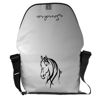 Horse Head on Silver Personal Courier Bag