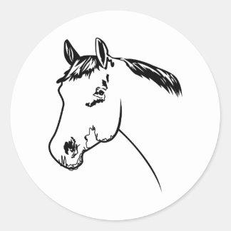 Horse Head Outline Round Sticker