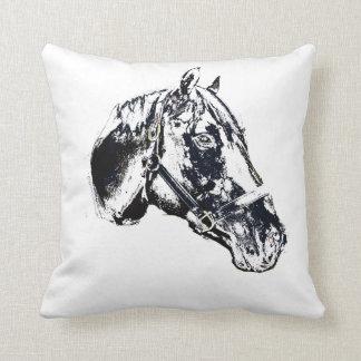 horse head stamp style throw cushion
