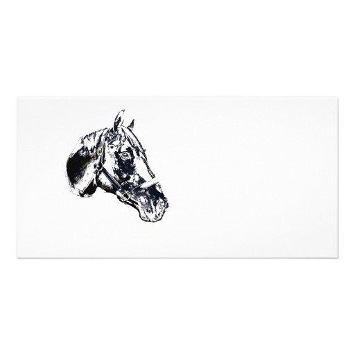 horse head stamp style custom photo card