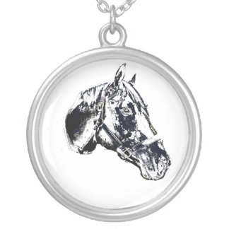 horse head stamp style round pendant necklace