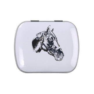 horse head stamp style jelly belly candy tin