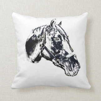 horse head stamp style throw cushion