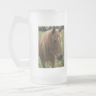 Horse Hello Frosted Glass Beer Mug
