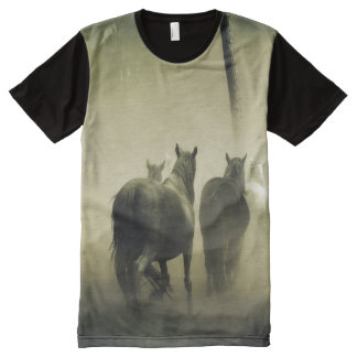 Horse Herd in the Mist All-Over Print T-Shirt