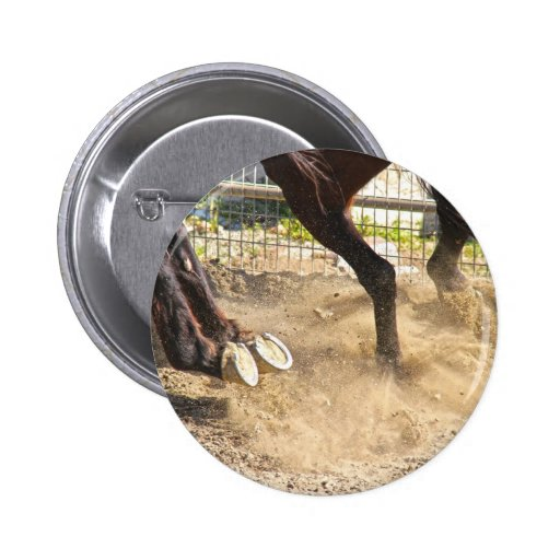 Horse hooves trampling the dirt. buttons